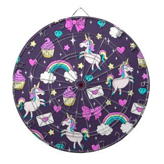 Cute Unicorn Pattern Dartboard