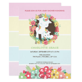 Cute Unicorn Personalised Baby Shower Card