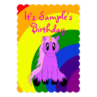 Cute Unicorn Rainbow Birthday Invitation (Pink)
