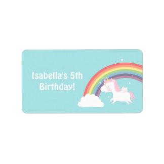 Cute Unicorn Rainbow Girls Birthday Party Address Label