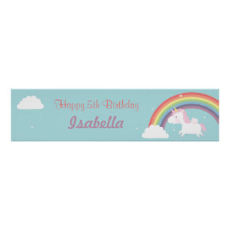 Cute Unicorn Rainbow Girls Birthday Party Banner Poster