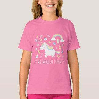 Cute Unicorn Rainbow Girls Favourite Things Tee