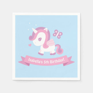 Cute Unicorn Wings Girls Birthday Party Napkins Paper Serviettes