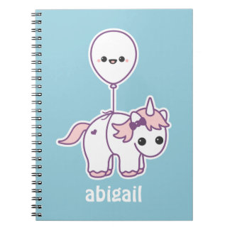 Cute Unicorn with Balloon Spiral Notebook