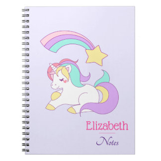 Cute Unicorn with Colorful Shooting Star Notebook