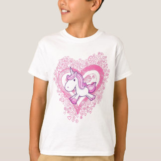 Cute Unicorn with Doodle Flowers & Hearts T-Shirt