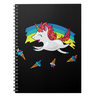 Cute Unicorn with rainbow cool illustration Notebook
