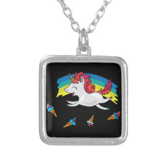 Cute Unicorn with rainbow cool illustration Silver Plated Necklace