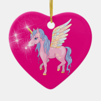 Cute Unicorn with rainbow wings illustration Ceramic Heart Decoration
