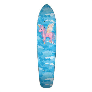 Cute Unicorn with rainbow wings illustration Custom Skate Board
