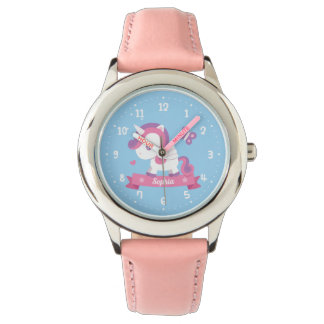 Cute Unicorn with Wings Girls Personalised Watch