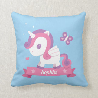Cute Unicorn with Wings Girls Room Decor Pillow