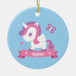 Cute Unicorn with Wings Kids Personalised Ornament