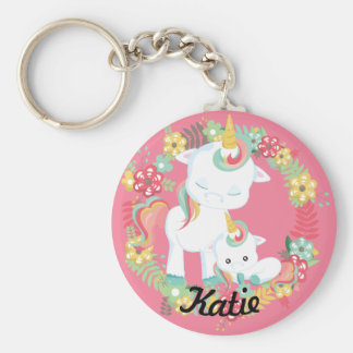 Cute Unicorns and Floral Personalised Key Ring