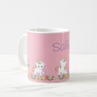 Cute Unicorns and Floral Personalized Coffee Mug
