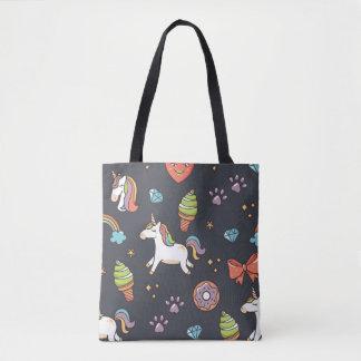 Cute Unicorns and Rainbows Midnight Blue Pattern Tote Bag