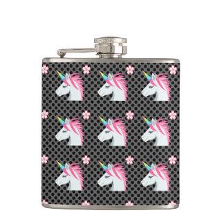 Cute Unicorns Flower Emoji Polka Dots Pattern Hip Flask
