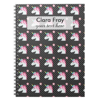 Cute Unicorns Flower Emoji Polka Dots Pattern Notebook