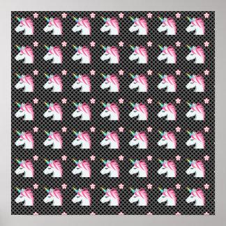 Cute Unicorns Flower Emoji Polka Dots Pattern Poster
