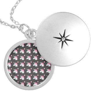 Cute Unicorns Flower Emoji Polka Dots Pattern Silver Plated Necklace