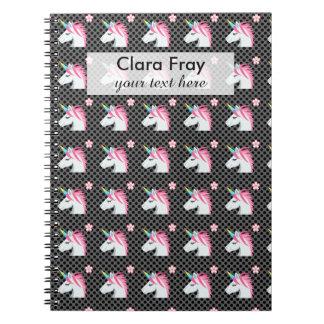 Cute Unicorns Flower Emoji Polka Dots Pattern Spiral Notebook