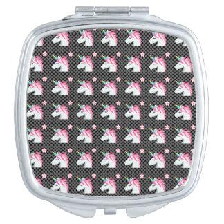 Cute Unicorns Flower Emoji Polka Dots Pattern Vanity Mirrors