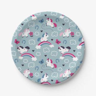 Cute Unicorns Pattern Paper Plate
