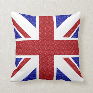 Cute Union Jack Flag Pillow Red White Blue Glam