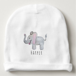 Cute Unisex Watercolor Elephant Safari with Name Baby Beanie