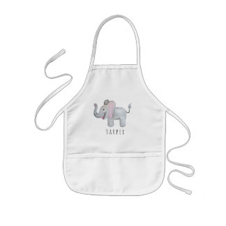 Cute Unisex Watercolor Elephant Safari with Name Kids Apron