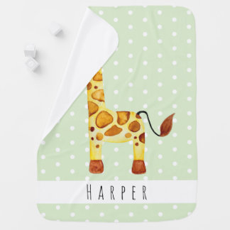 Cute Unisex Watercolor Giraffe Safari Dots & Name Baby Blanket