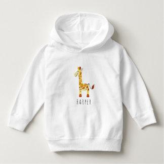 Cute Unisex Watercolor Giraffe Safari with Name Hoodie