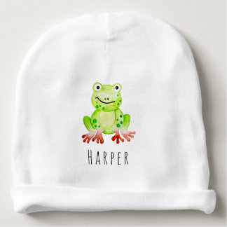 Cute Unisex Watercolor Jungle Frog with Name Baby Beanie