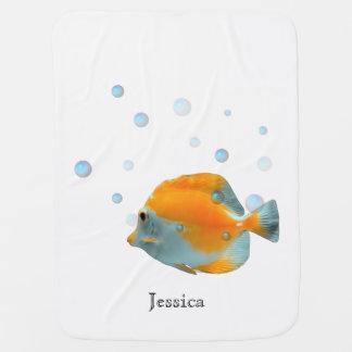 Cute Unisex Yellow Coral Fish Baby Shower Custom Baby Blanket