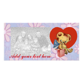 Cute Valentine Bear on pink flowered background Personalised Photo Card