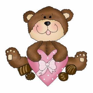 cute valentine chocolates bear standing photo sculpture