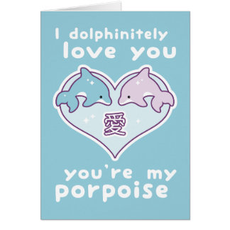 Cute Valentine Dolphins Greeting Card