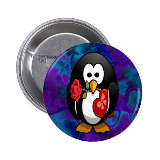 Cute Valentine s Day Penguin Funny Cartoon Pinback Button