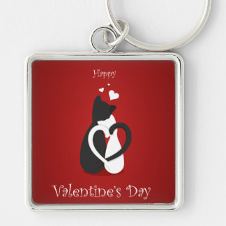 Cute Valentine's Day Cats Love Key Ring
