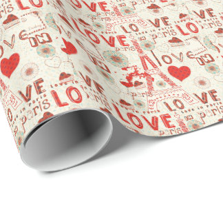Cute Valentines Pattern-Love In Paris Eiffel Tower Wrapping Paper