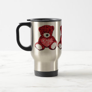 Cute Valentines Teddy Bear with Red Heart Stainless Steel Travel Mug