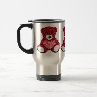 Cute Valentines Teddy Bear with Red Heart Travel Mug
