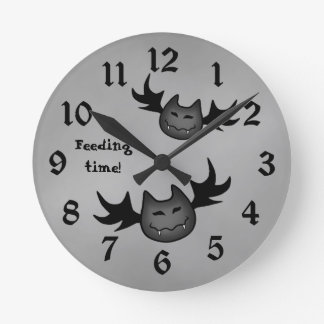 Cute vampire bat Halloween funny feeding time Clock