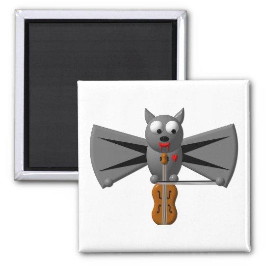 Cute vampire bat playing the violin magnet