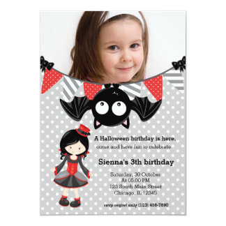 Cute vampire birthday with a photo card