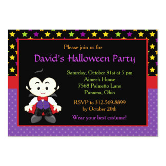Cute Vampire Boy Halloween Costume Party Card