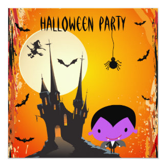 Cute Vampire & Castle Halloween Party Invites