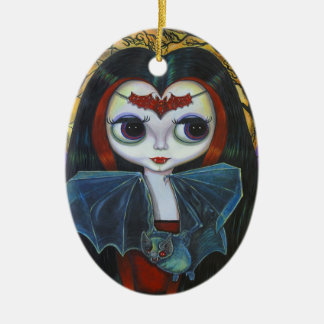 Cute Vampire Doll with Bat Ornament