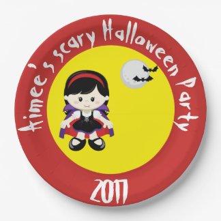 Cute Vampire Girl Halloween Party Paper Plate