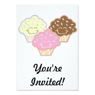 cute vanilla strawberry chocolate cupcakes 13 cm x 18 cm invitation card